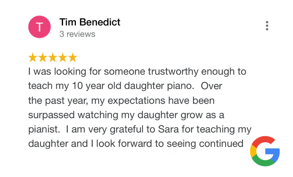piano student writing about their piano lessons
